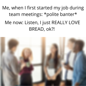 A blurry stock photo of colleagues talking with  the text post on top