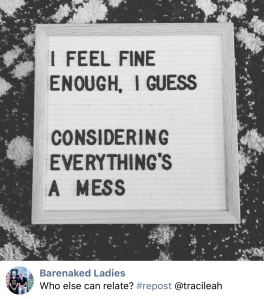 """A screenshot from the Barenaked Ladies Facebook page.  It is a black and white image of a feltboard with the lyrics """"I feel fine enough I guess considering everything's a mess"""""""