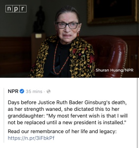 A screenshot of NPR's announcement of the passing of Ruth Bader Ginsburg