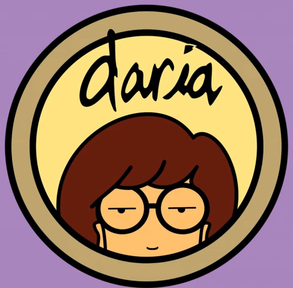 The logo for theanimated TV show Daria. Her round glasses peer over the bottom of the frame.