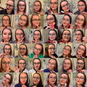 A grid of 32 photos of me. In all I am holding lipstick tubes. In two I look upset at the poor quality lipstick .