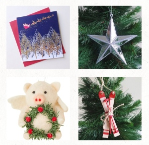 Four photos of Christmas wares from the Papery's website.