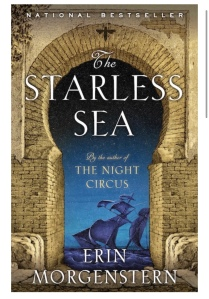 An image of the cover of the starless sea. A warm yellow brick wall opens into a rounded doorway that faces onto a deep navy sea. An old fashioned boat with sails is on the sea.